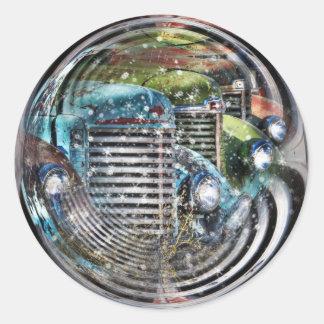 Truck Snowglobe Classic Round Sticker