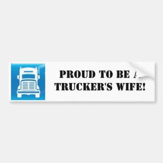 truck sticker Proud to be aTrucker s wife Bumper Sticker