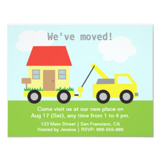 Truck Towing House, We've Moved 11 Cm X 14 Cm Invitation Card