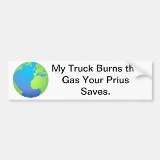 Truck vs. Prius Bumper Sticker