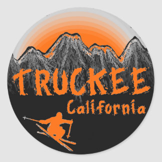 Truckee California artistic skier Classic Round Sticker
