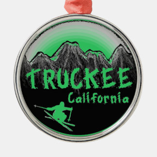 Truckee California artistic skier Silver-Colored Round Decoration