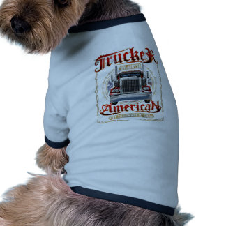 Trucker by Birth American By Grace of God Ringer Dog Shirt