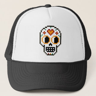 Trucker Hat: 8-Bit Day of the Dead Skull Trucker Hat