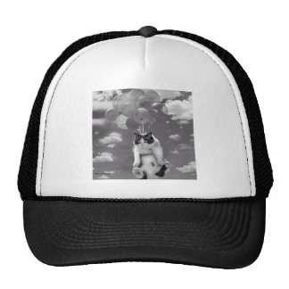 Trucker Hat: Funny cat flying with Balloons Cap