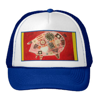 Trucker Hat with Colorful Pig Design