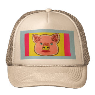 Trucker Hat with Cute Pig Design