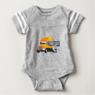 Trucker Standing Next To Heavy Yellow Long-Distanc Baby Bodysuit