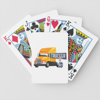 Trucker Standing Next To Heavy Yellow Long-Distanc Bicycle Playing Cards