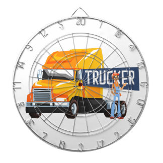 Trucker Standing Next To Heavy Yellow Long-Distanc Dartboard