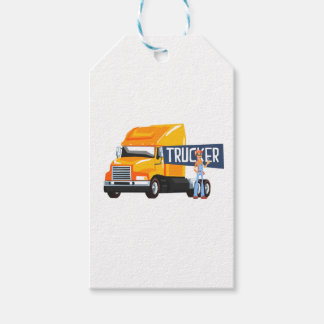 Trucker Standing Next To Heavy Yellow Long-Distanc Gift Tags