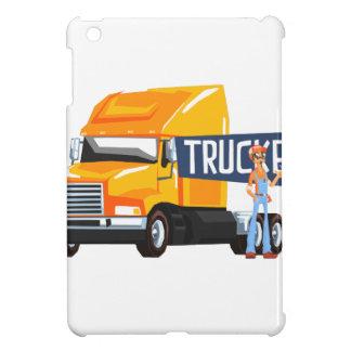 Trucker Standing Next To Heavy Yellow Long-Distanc iPad Mini Cases