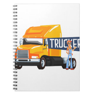 Trucker Standing Next To Heavy Yellow Long-Distanc Notebook