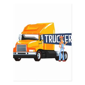 Trucker Standing Next To Heavy Yellow Long-Distanc Postcard