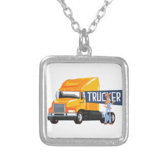 Trucker Standing Next To Heavy Yellow Long-Distanc Silver Plated Necklace