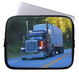 Truckers, Big Rig Cargo Truck Art Laptop Sleeve