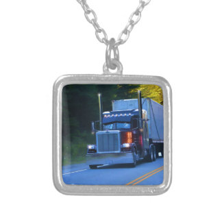 Truckers, Big Rig Cargo Truck Art Silver Plated Necklace