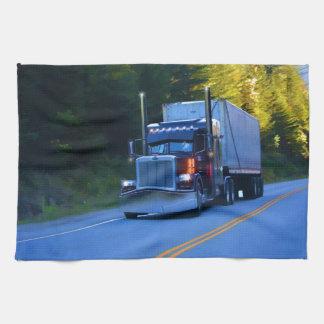 Truckers, Big Rig Cargo Truck Art Tea Towel