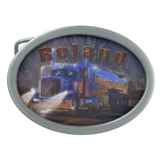 Truckers Tanker Gift for Roland customised Oval Belt Buckle