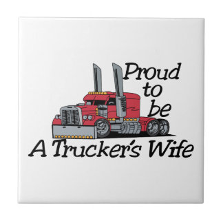 Truckers Wife Small Square Tile