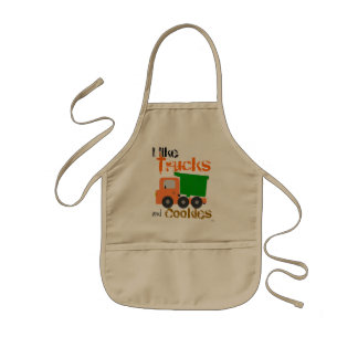 Trucks and Cookies (orange) Kids Apron
