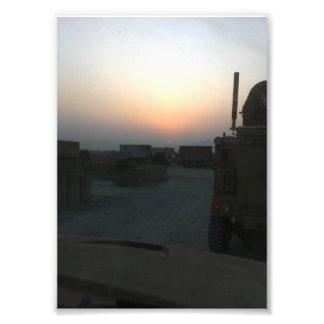 Trucks at FOB Ghazni Sunrise Photo Print