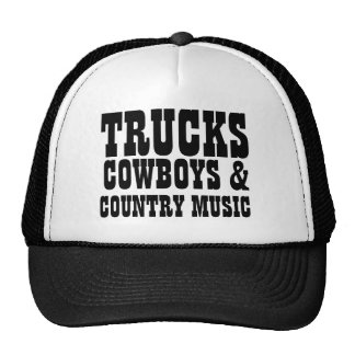 Trucks Cowboys and Country Music Trucker Hats