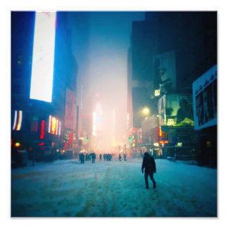 Trudging Through The Snow In Times Square Photo Print