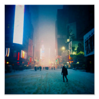 Trudging Through The Snow In Times Square Poster
