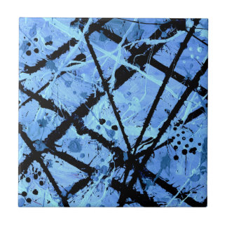 TRUE BLUE (an abstract art design) ~ Small Square Tile