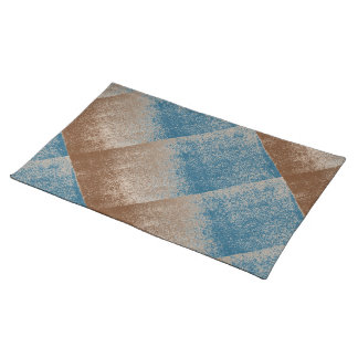 True Blue Distressed Effect Chenille Contemporary Place Mat