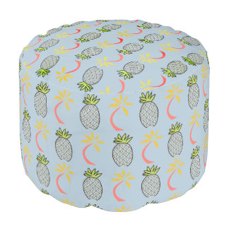 True Blue Island  Tropical Pineapple Palm Pouf