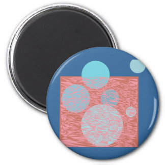 True blue moon ball bubbles pink chemistry girly 6 cm round magnet