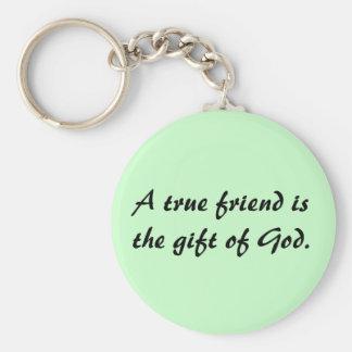 True Friends Basic Round Button Key Ring