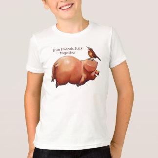 True Friends Stick Together: Cute Pig With Bird T-Shirt