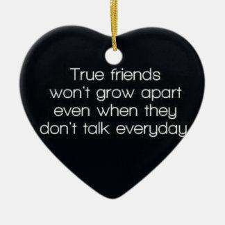 true friends wont grow apart ceramic heart decoration