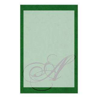 True Green Velvet Personalized Home Casino Stationery Paper