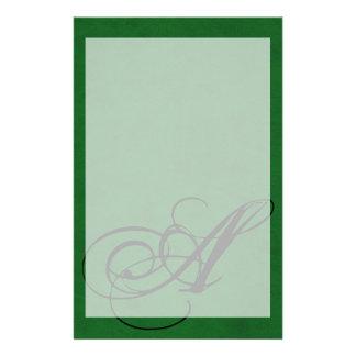 True Green Velvet Personalized Home Casino Stationery Paper