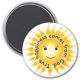 True Happiness Comes From God 7.5 Cm Round Magnet