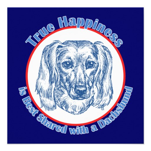 True Happiness with a Dachshund (Longhair) Personalized Announcements