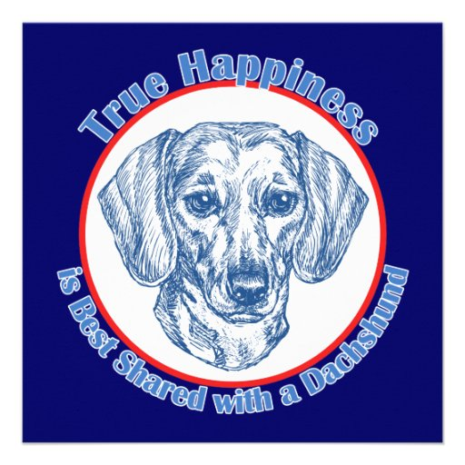 True Happiness with a Dachshund (Shorthair) Personalized Invitation