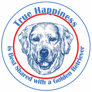 True Happiness with a Golden Retriever Photo Sculpture Decoration