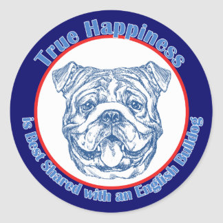 True Happiness with an English Bulldog Stickers