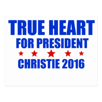 True Heart for President Chris Christie 2016 Postcard