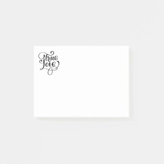 True Love Black & White Typography Wedding Bridal Post-it Notes