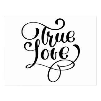 True Love Black & White Typography Wedding Bridal Postcard