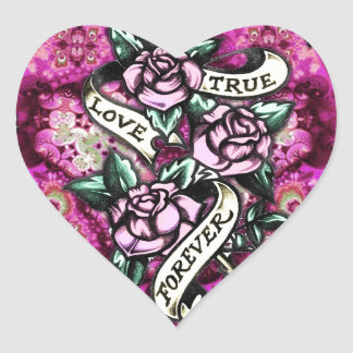 True Love Forever Rockabilly Roses pattern. Heart Sticker