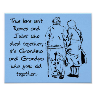 True Love Grows Old Funny Romantic Poster Sign