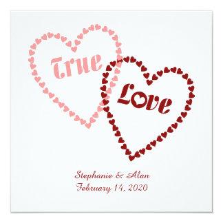 """True Love Hearts Wedding Invitation 5.25"""" Square Invitation Card"""