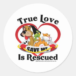 True Love is Rescued Classic Round Sticker